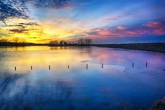 Forgotten Fence (Kansas Poetry (Patrick)) Tags: wetlands bakerwetlands wakarusawetlands lawrencekansas sunset abandonedfarm fenceposts kansas winter patrickemerson patricklovesnancy