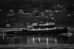 Tugboat Captain D (thetrick113) Tags: tugboat hudsonriver river night evening beaconnewyork sonyslta65v tugboatcaptaind captaind norfolktugcompany hudsonvalley hudsonhighlands hudsonrivertugboat hudsonrivervalley workingvessel vessel lights winter2017 winter 2017 newburghnewyork dutchesscountynewyork orangecountynewyork ice hudsonriverice blackandwhite