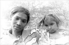 "Faces at the Window.....  ""please""?    #1 (Mary Faith.) Tags: india beggar woman child girl daughter delhi blackwhite please"