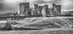 Caerphilly Castle (Andy J Newman) Tags: caerphilly wales landscape ruins d500 nikon castle blackandwhite monochrome silverefex unitedkingdom gb