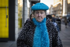 Something Blue (Leanne Boulton) Tags: people depthoffield urban street candid portrait portraiture streetphotography candidstreetphotography candidportrait streetportrait eyecontact candideyecontact streetlife elderly old woman female face facial expression look eyes emotion feeling mood anger angry fluffy scarf hat bright blue leopardprint tone texture detail bokeh naturallight outdoor light shade city scene human life living humanity society culture fashion canon 5d 5dmarkiii 70mm character ef2470mmf28liiusm color colour glasgow scotland uk