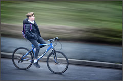 Going Home Hands Free (rogermccallum) Tags: biker bicycle cycle street nohands bluebike schoolboy cyclist