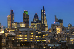 From St Pauls To The City (JH Images.co.uk) Tags: london city blue hour night hdr dri st pauls cathedral gherkin leadenhall tower 42 skyscrapers skyscraper heron illuminated