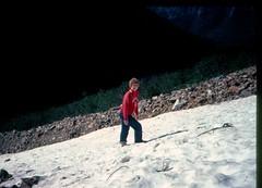 Mom tackling the snowfield