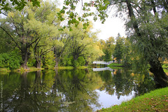 Boldino Park (gráce) Tags: park bridge autumn trees tree nature water leaves reflections pond september foliage