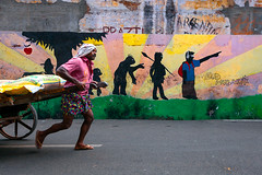 Street. Kochi, India (Marji Lang Photography) Tags: life street travel people india streetart man art colors wall work painting way photography hope colorful indian creative streetphotography documentary evolution kerala direction imagination worker colourful cochin wallpainting kochi inde southindia streetshot oneman travelphotography goingon 2013 streetcomposition marjilang