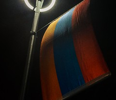 Armenia under the night light.... (Christos Sevaslian) Tags: city blue red orange flag country armenia yerevan  hayastan hayasdan