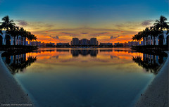 Symmetrical1 (2) (RileyBrobst) Tags: travel sunset sky skyline clouds reflections nikon florida westpalmbeach photoblog mirrorimage palmbeach hdr highdynamicrange d3 intracoastal palmbeachcounty photomatix flaglermuseum hdrsky michaelsteighner mdsimages palmbeachbikepath
