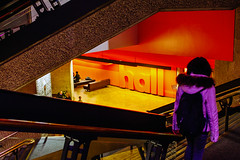 London 10x15 36 (LondonFrog) Tags: uk england people orange color london yellow stairs composition hall barbican staircase diagonals 2015