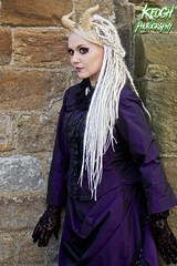 IMG_7767 (Neil Keogh Photography) Tags: white girl dreadlocks female dress purple cream makeup horns gloves dreads whitbygothweekend borderfx