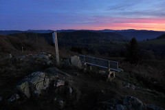 Sunset (denismartin) Tags: travel autumn sunset sky cloud sun france mountains tree history nature trek bench landscape hiking sunsetlight lorraine vosges resistance maquis vogesen planois bassesurlerupt denismartin piquantepierre vosgesmountain croixdesmoinats