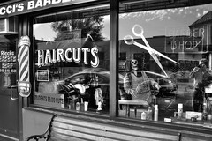 Cindy Ricci's Barbershop, New Paltz, NY...IMG_5993_4_5_tonemapped (dklaughman) Tags: newyork blackwhite barber hdr thebestofhdr