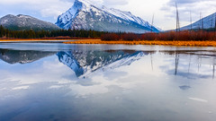 Approaching Winter (jd_hiker) Tags: banffnationalpark reflections alberta landscape winter vermilionlake cities banff tunnelmountain subject canada seasons nationalparksofcanada places mountains