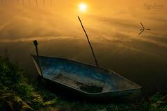 sunset on water... (bhaskar samanta) Tags: nikon nature nikkor nikond3300 nikonindia naturephotography india bengal sunset landscape sun 1855mm 1855 wallpaper warm colour colourful d3300 kolkata iamnikon kitlense boat silhouette