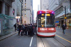 Cherry Line - Rush the front door! (SteveC123!) Tags: ttc new streetcar 4428 bombardier tram toronto rush hour commuter 514 cherry king street