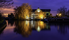 The Clock Warehouse (Steve Millward) Tags: nikon nikkor d750 2470 fx fullframe stevemillward perspective interesting colour light mood moment night bluehour longexposure derby winter cold water canal shardlow clockwarehouse boats sunset sky marstons reflections tree season