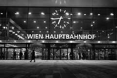 Welcome (theflyingtoaster14) Tags: wien vienna hauptbahnhof railway station architecture architektur glas glass bw schwarzweiss sony rx10 night abend steel lights street no hdr