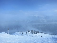 Sunny foggy Harmony Ridge (Ruth and Dave) Tags: whistler whistlerblackcomb whistlermountain harmonyridge seventhheaven mountain skiresort piste skirun fog sun foggy sunny bright white landscape weather weahterphotography