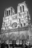 Notre Dame Paris, Facade in Winter (Renate Flynn) Tags: bw canonrebelxt france january2009 notredamecathedral notredamedeparis paris paris2009 renateflynn2009 blackandwhite eveninglight solotravel