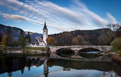 Bohinj reflection (Cocodix) Tags: cocodix church bridge bled bohinj slovenia travel sky roadtrip canon cocolino lake ljubljana ribčevlaz radovljica si