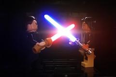 Lightsaber Duel (MJR415) Tags: starwars lego effects lightsaber clash saber light force darkside lightside dark minifigure minifigures rowan fortuna sith jedi star wars fight duel
