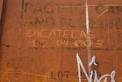 ZACATECAS (03) (TheGraffitiHunters) Tags: graffiti graff moniker markal streak paint stick street art freight train tracks benching benched boxcar rust zacatecas 03 2003