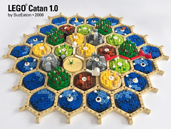 LEGO Catan - Game Underway (SuzEaton) Tags: lego catan boardgame board game hexagons hexes settlers die seidler