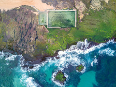 ocean pool (Evan_Williams) Tags: oceanpool movavale lowtide green seaweed algae people pool aerial djimavicpro dji mavic pro sydney australia