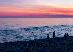 A lovely evening (DVchigarev) Tags: sky clouds cloudporn people outdoor canon canon70d sigma sigma35mm stone stones sunset sea blacksea colors catchycolors world life dslr digital march spring landscape russia sochi beach ocean water