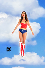 Wonder Woman (Tolga Cetin Photography) Tags: red woman canon comics studio wonder photography justice dc cosplay flight floating levitation t5i