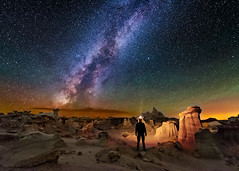 Lost in the Valley of Dreams (Wayne Pinkston) Tags: nightphotography sky lightpainting newmexico night stars nikon galaxy astrophotography hoodoo nightsky badlands starrynight milkyway mudstone valleyofdreams landscapeastrophotography waynepinkston lightcraftercom widefielsastrophotography