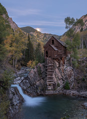 Supermoon Above Crystal Mill (Erik Johnson Photography) Tags: horse moon mountain mountains mill abandoned creek river dead rockies waterfall colorado long exposure crystal country rocky peak hike trail marble rive supermoon