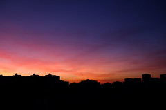 6 A.M. (Equinoxtvs) Tags: city morning red orange silhouette 35mm early saturated purple vibrant fujifilm fujinon xe2