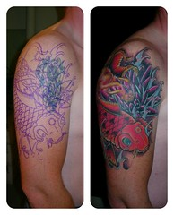 2010RedRoseTattooNLkoikarper (Red Rose Tattoo) Tags: blue red roses fish man color water rose yellow shop tattoo design rotterdam blauw arms arm lotus drawing redrose guys delft koi geel rood sleeve vis 010 maassluis vlaardingen schiedam tattooshop koifish coverup kleur karper redrosetattoo goodtattoo