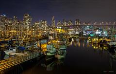 Vancouver Nights (Clayton Perry Photoworks) Tags: bridge autumn canada fall skyline night vancouver reflections lights bc falsecreek granvillestreetbridge