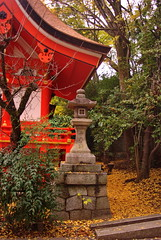 Colour and Stone (kewpiedollchan) Tags: japan stone japanese kyoto shrine traditional kitano lantern tradition tenmangu kamishichiken