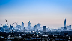 Foggy morning on London (aurlien.leroch) Tags: uk blue england london skyline sunrise europe londoneye bigben bleu londres bluehour shape shard fogg