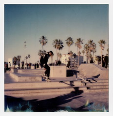 Venice Sk8r 8 (tobysx70) Tags: the impossible project tip polaroid slr680 frankenroid sx70 door rollers color film for 600 type cameras impossaroid sk8r venice beach skate park los angeles la california ca skater skateboarder airborne jump shadows palms palmtree polawalk 121716 toby hancock photography