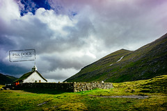 The church in Saksun - Faroe Islands (@PAkDocK / www.pakdock.com) Tags: 2016 faroe landscape pakdock travel lake sea nature church island clouds outdoor roof grass green village waterfall graveyard sunny islands earth outdoors landmark cabin grassland planet voigtlander emerald wanderlust faroese streymoy saksun mountain sky cloud cloudscape hill feros feroe feroes islas