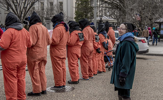 Kathy Kelly Watches an Anti-Torture Demonstration in Front of the White House