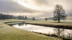 Where the River Bends (gavsidey) Tags: river derwent derbyshire chatsworth trees mist sun clouds frost