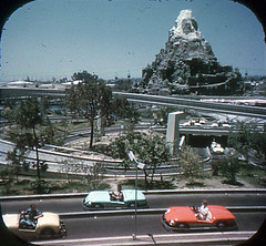 Tomorrowland Reel 2, #4a - Young and Old Drive Autopia Freeways (Tom Simpson) Tags: viewmaster slide vintage disney disneyland 1960s vintagedisney vintagedisneyland