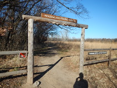 DSCN7447 (alnbbates) Tags: december2016 oxleynaturecenter tulsa oklahoma running trails trailrunning signs trailsigns gate wicket fence selfie shadowselfie