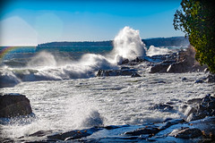Splashing and Crashing (WOODSHED Revisited) Tags: pentax lake superior north shore shoreline minn minnesota mn great lakes scenic highway 61 us route cascade river state park grand marais surf waves splash crash splashing crashing plume rocks rocky november