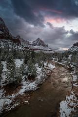 bitter (T N K) Tags: zion national park utah springdale mountain watchman snow fall river clouds flame sky dark color mood