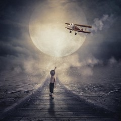 Never stop looking up (RoCafe on/off) Tags: manipulation photoshop ps conceptual fantasy boy moon aircraft night stars surrealism art