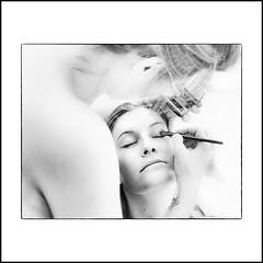 ... (jean76_58) Tags: jean7658 pentax portrait streetportrait street photography woman girl umbrella femme blackwhite bw noirblanc nb monochrome monotone makeup maquillage backstage dancer ballerine