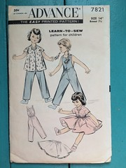 Advance 7821 (kittee) Tags: kittee vintagesewing vintagepatterns advance advance7821 7821 learntosew dollclothes dollwardrobe toy blouse skirt overalls circleskirt petticoat suspenders bibfront patternforchildren size14breast712 nodate 1950s sewing sewingpattern vintage pattern