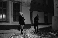 Meet up... (PIXXELGAMES - Robert Krenker) Tags: newspaper news cafe kaffee vienna wien snapshot unknown candid portrait portret schwarzweiss blackandwhite blacknwhite bnw fujifilm fujinon filmsimulation lifestyle street streetstyle urban streetphotographer streetphotography biancoenero meetup encounter encounting twogirls snow night nightshot availablelight girls younggirls