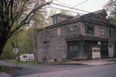 (patrickjoust) Tags: girardville pennsylvania rvcamper house fujicagw690 kodakportra400 120 6x9 medium format c41 color negative film manual focus analog mechanical patrick joust patrickjoust coal region country schuylkill county pa usa us united states north america estados unidos autaut small town old auto automobile vehicle parked abandoned vacant empty home rv recreational